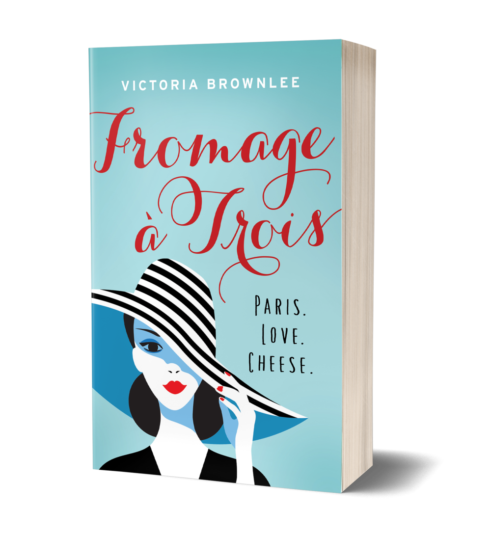 Fromage a Trois book cover, woman in striped hat with red lipstick. Paris. Love. Cheese