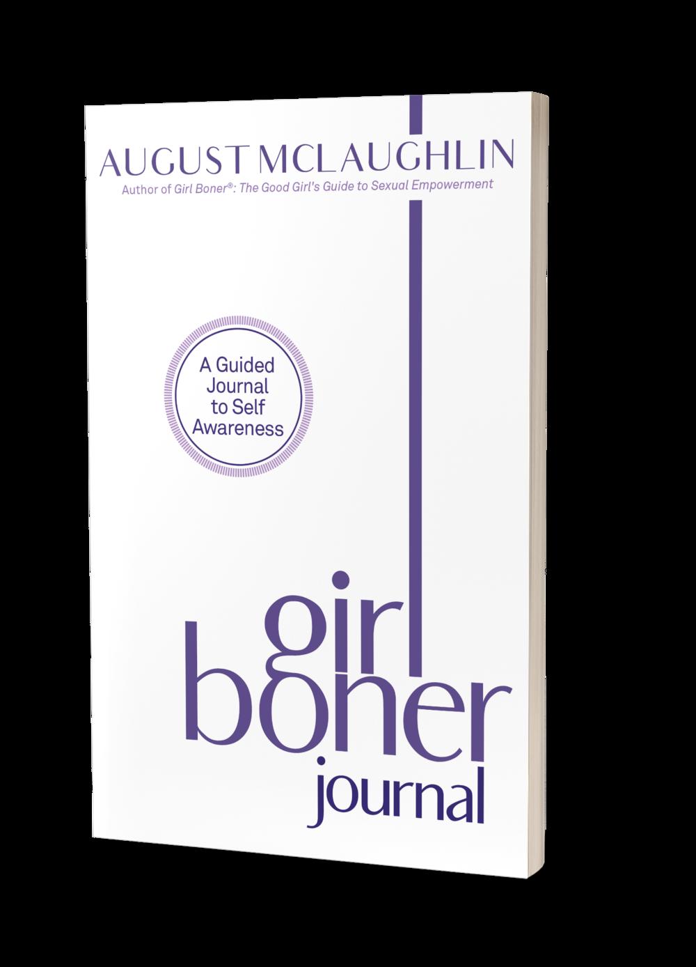 Girl Boner journal book cover, white background, purple writing,