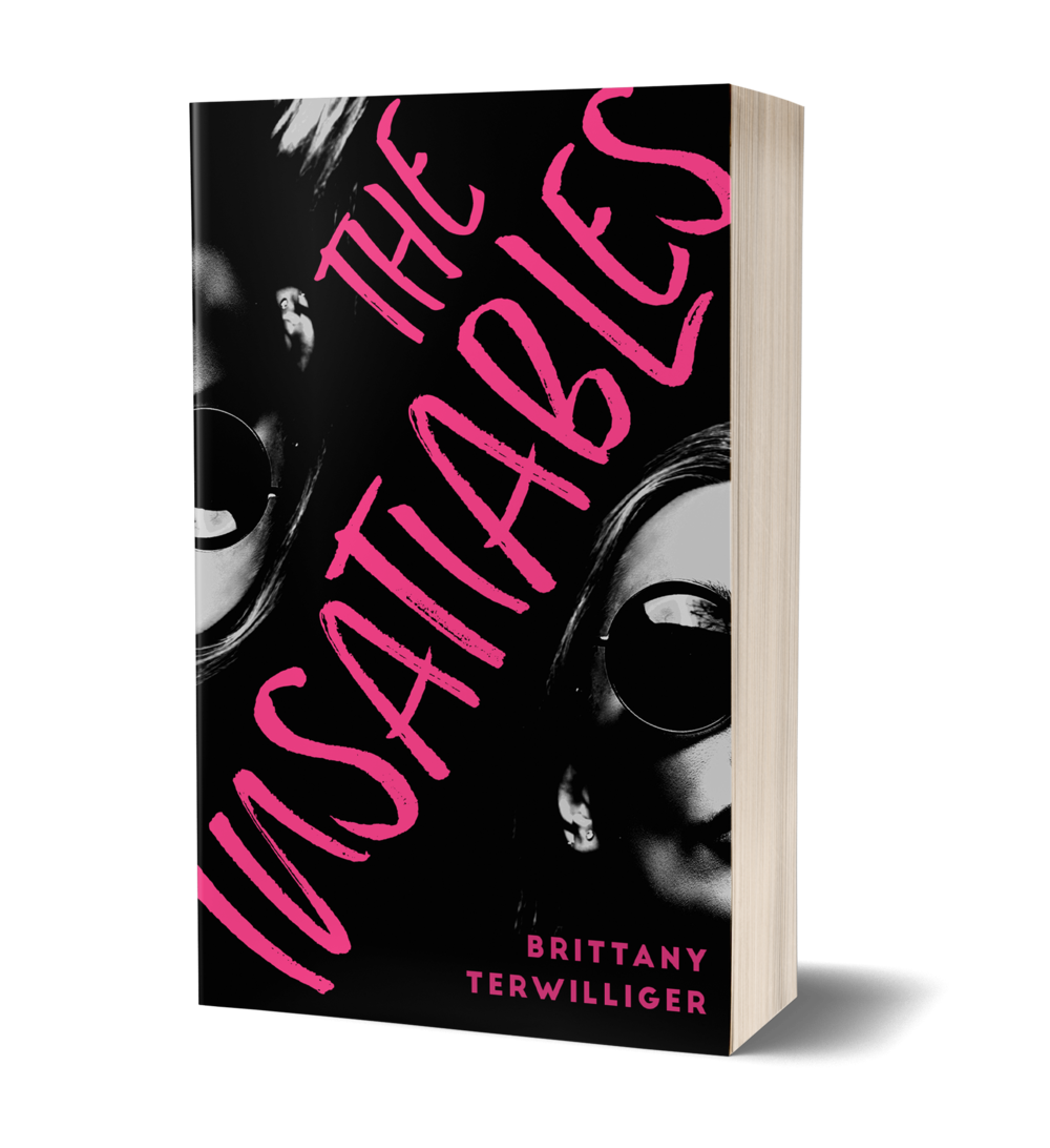 The Insatiables book cover, two women, only half their faces showing, wearing sunglasses