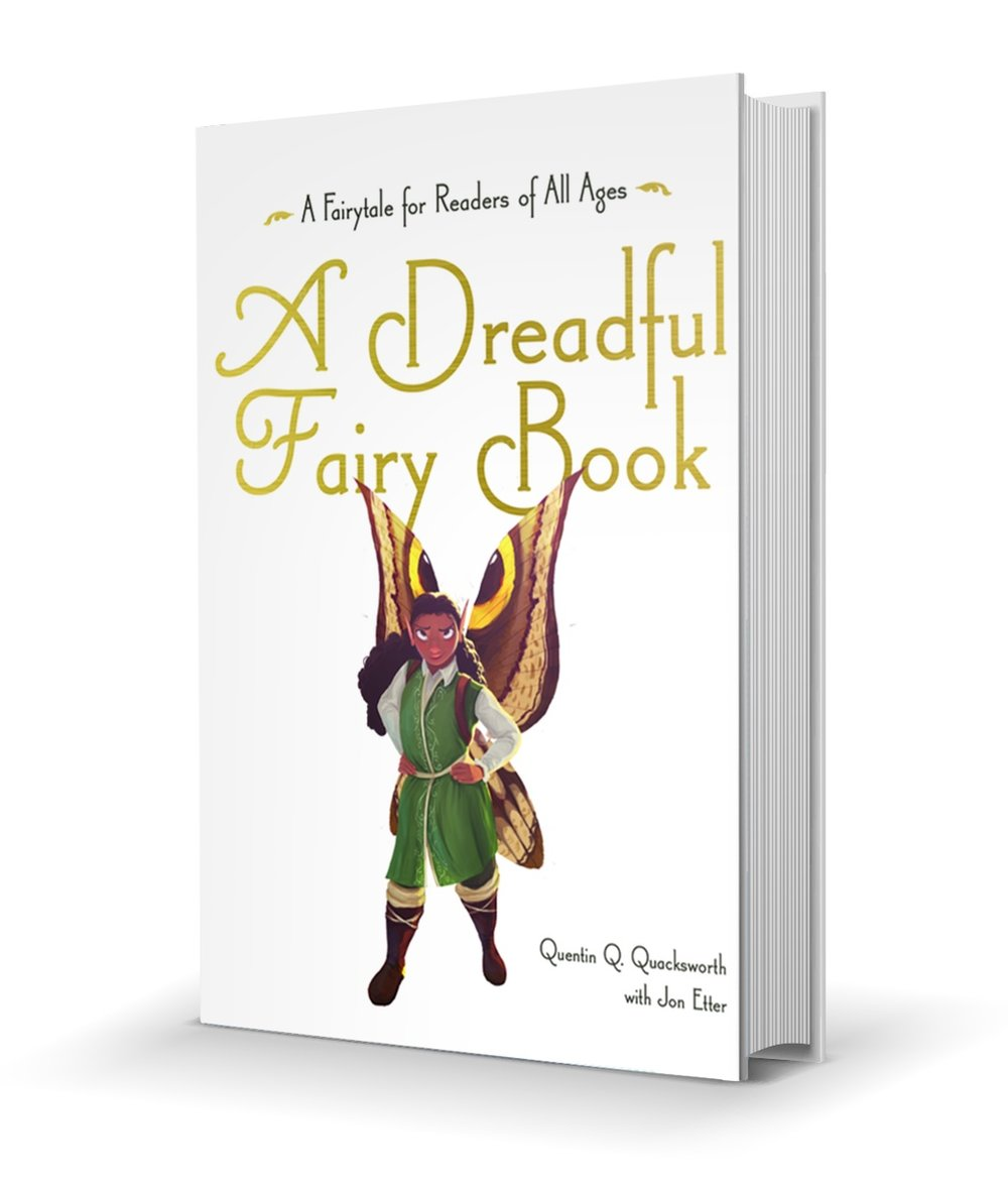 A dreadful Fairy Book book cover, Shade the Fairy standing with hands on hips, white background, yellow writing