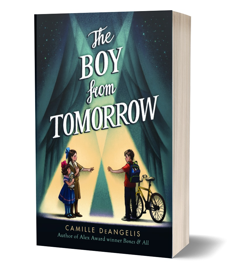 The Boy from Tomorrow book cover, three children, two girls and a boy, standing in the spotlight, in what looks like a circus tent, boy holding bike, kids reaching for each other