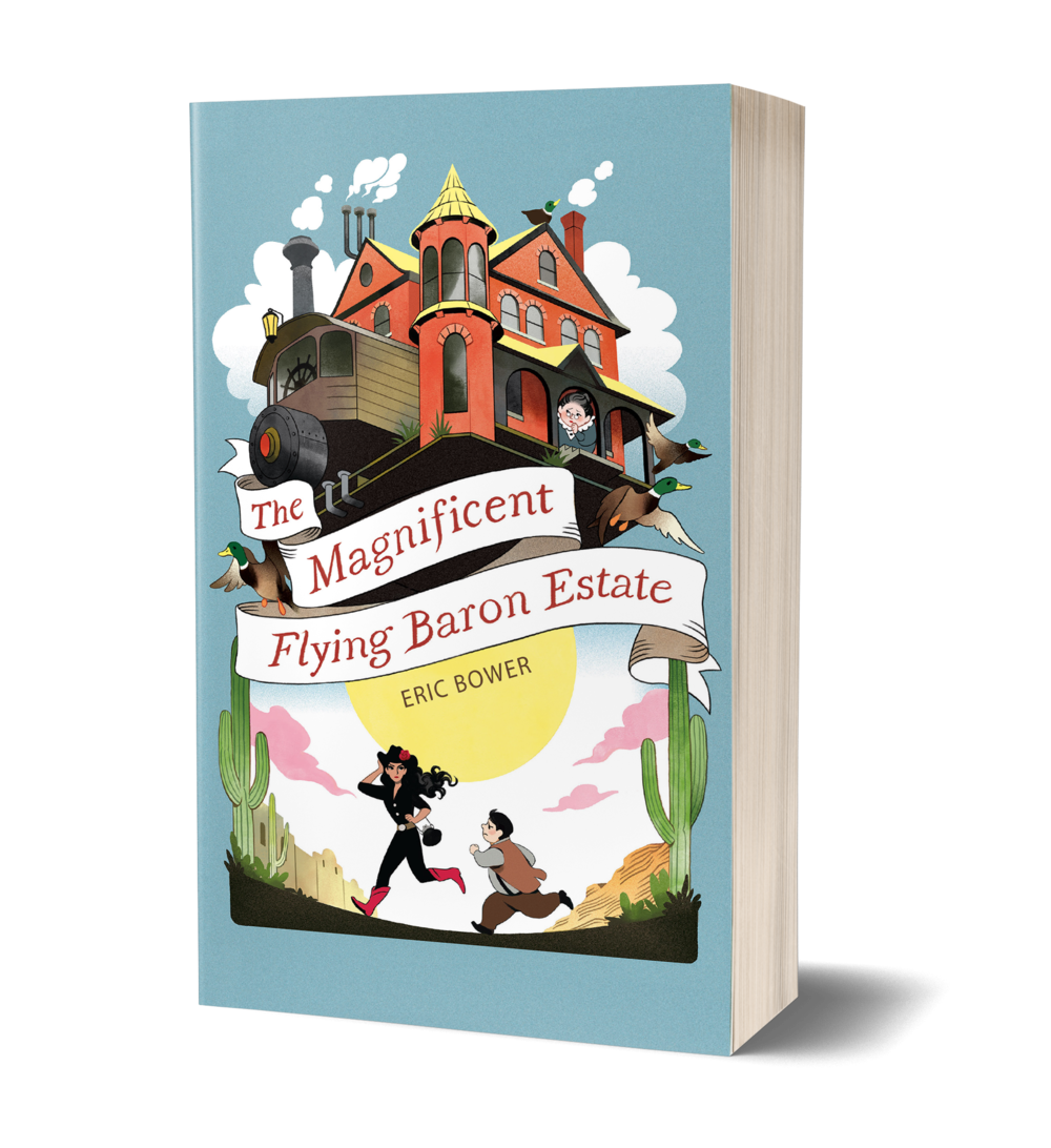 The Magnificent Flying Baron Estate book cover, house flying over desert, boy and girl running on the ground underneath the house, woman with head out the window