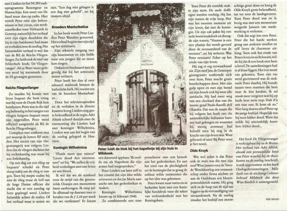 Peter Linders krantenartikel pag. 2