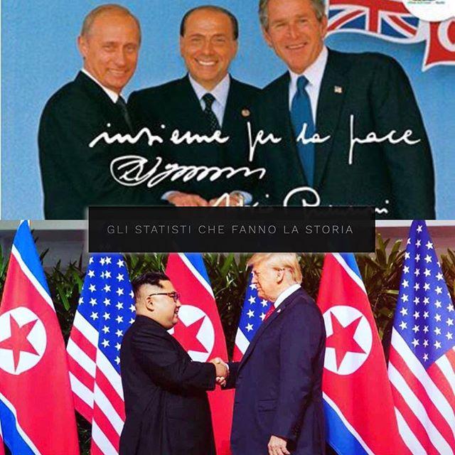 I leader raffigurati in questa foto, hanno fatto si che la storia del mondo fosse una storia di pace! I nostri contemporanei non lo capiscono, i nostri figli gli saranno grati. #history #trump #kim #kimjonghyun #putin #Bush #berlusconi #peace #nobel #trumpmeetskim