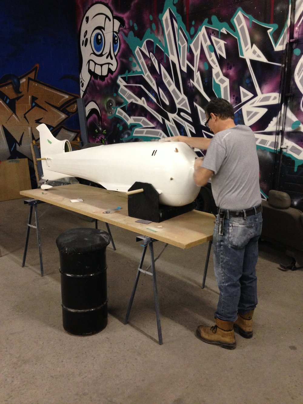 The plane was disassembled and sanded down