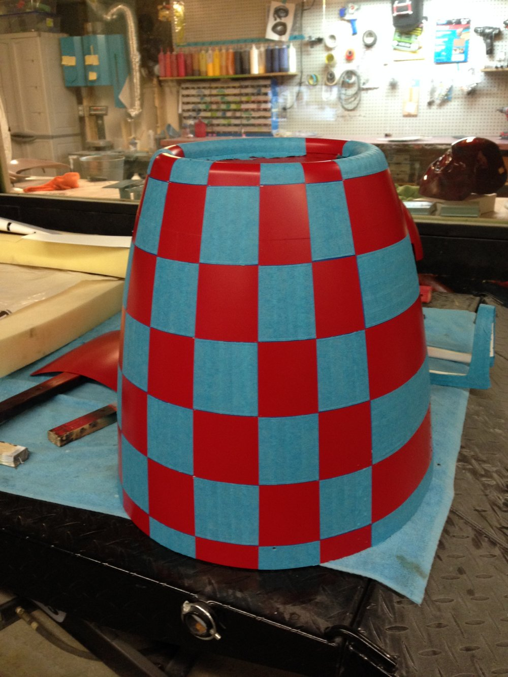Masking off the nose cone