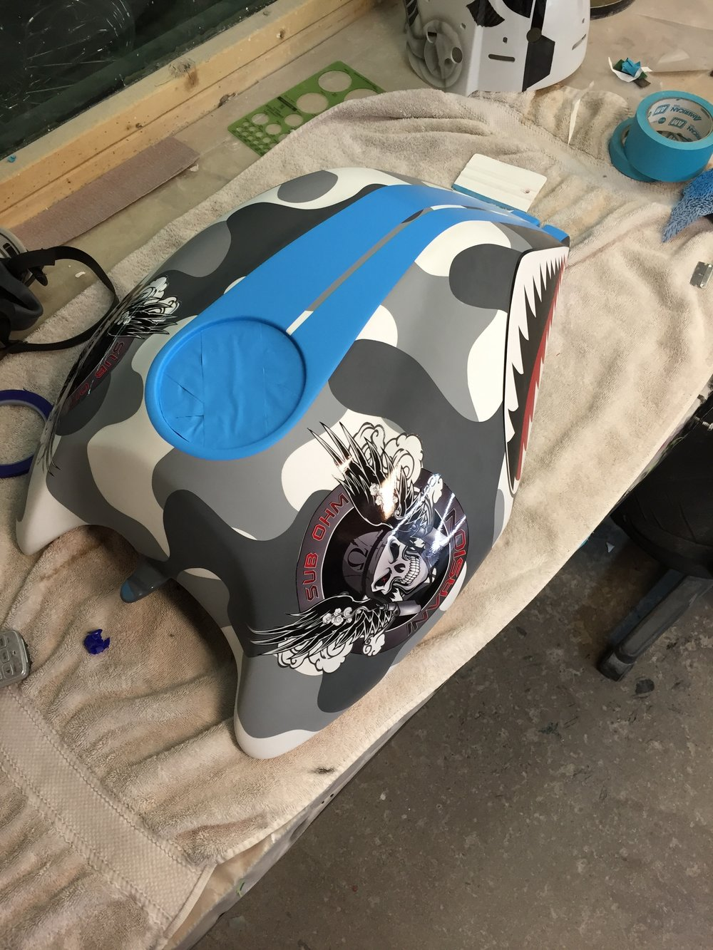 Buell Custom Camo Tank Sketchs Ink Custom Paint Shop in Ottawa Ontario