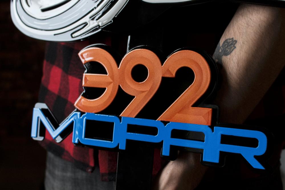 CNC-Cut Mopar Logo Hood Prop by Sketchs Ink Ottawa Ontario Canada