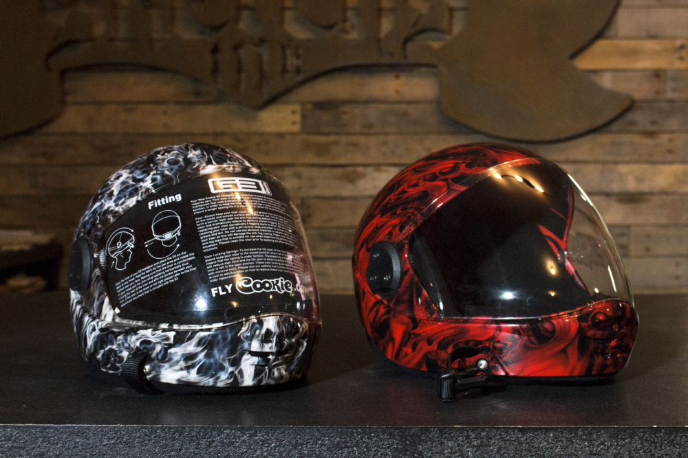 Cookie G3 Skydive Helmets get Hydrographics by Sketchs Ink Custom Paint Ottawa Ontario