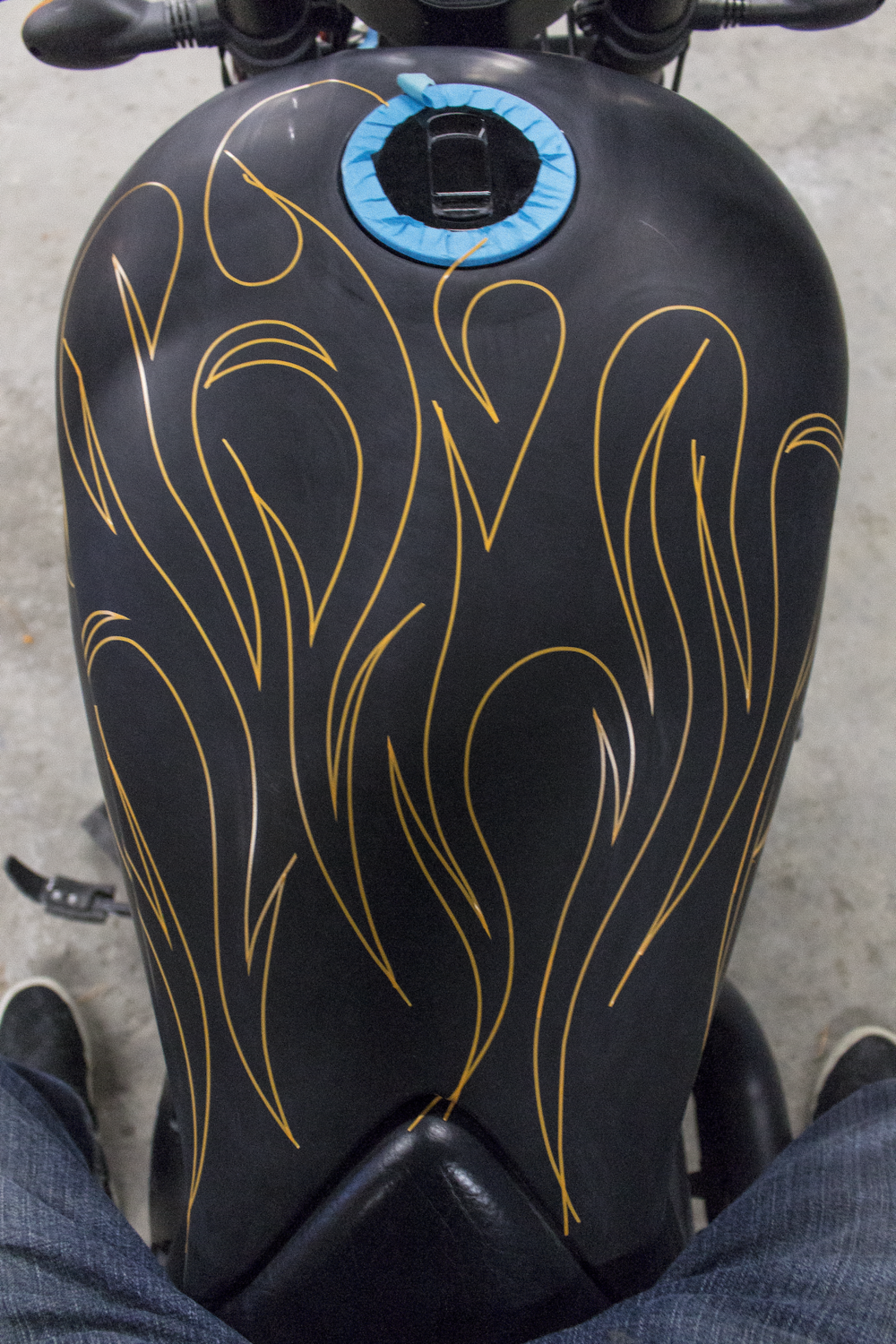Custom Ghost Flames on a victory 8 ball by Sketchs Ink Custom Paint