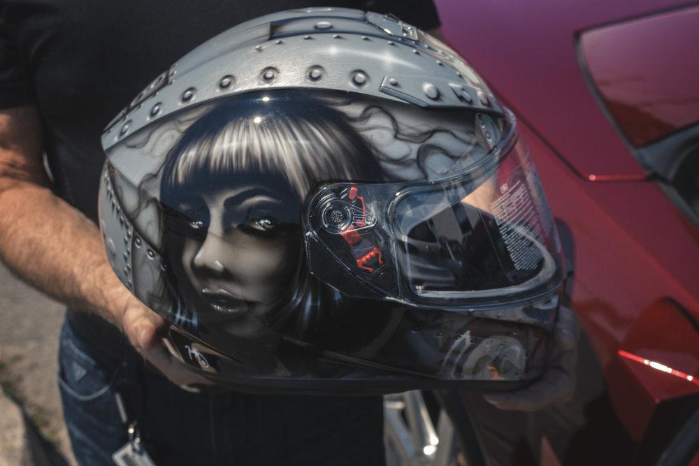 AGU Helmet Pinup Airbrush Art by Sketchs Ink Custom Paint Ottawa Canada Paint Shop