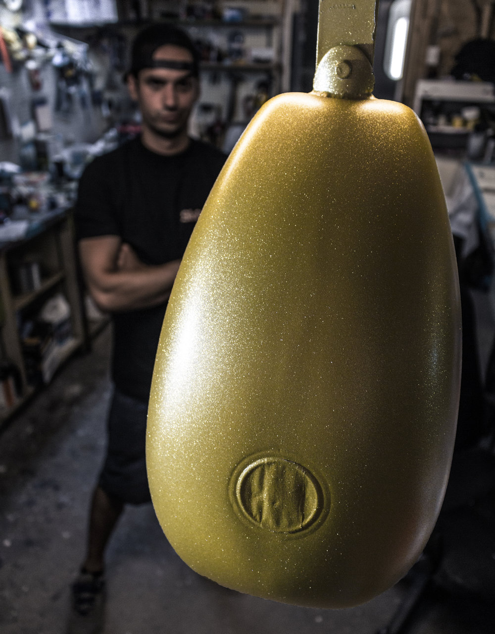The gold base coat of the 2018 Freedom Machine giveaway tank | Photo by Jeremy Constantineau