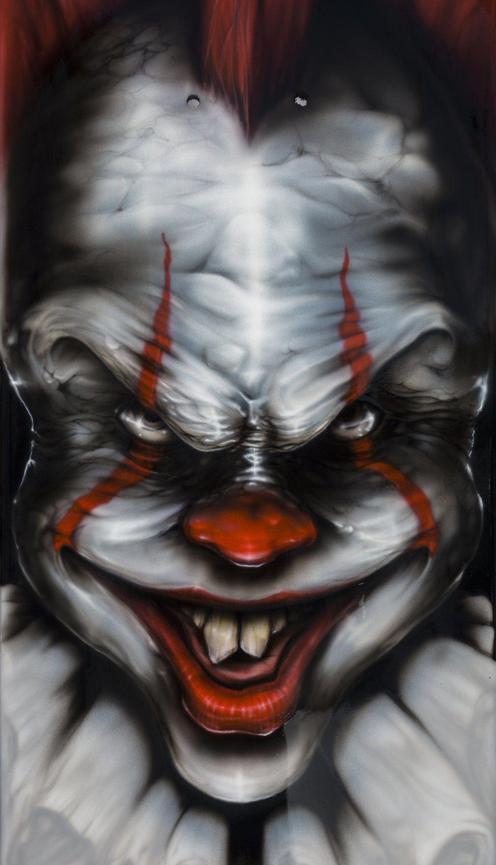Custom Airbrushed Skateboard IT Clown fan art by Sketchs Ink Ottawa Canada