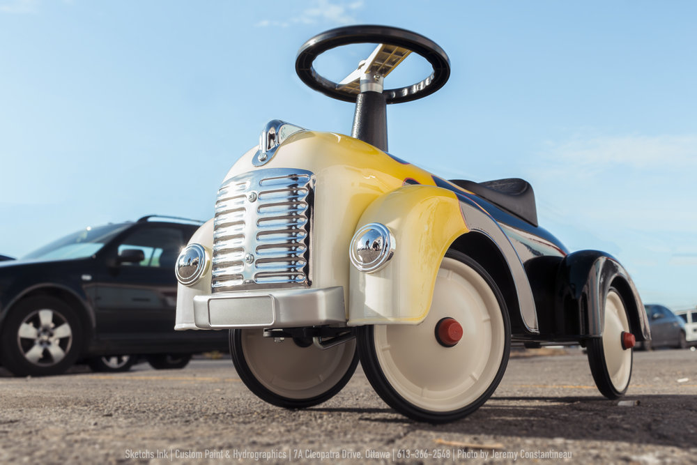 Hot-rod ride on child's toy