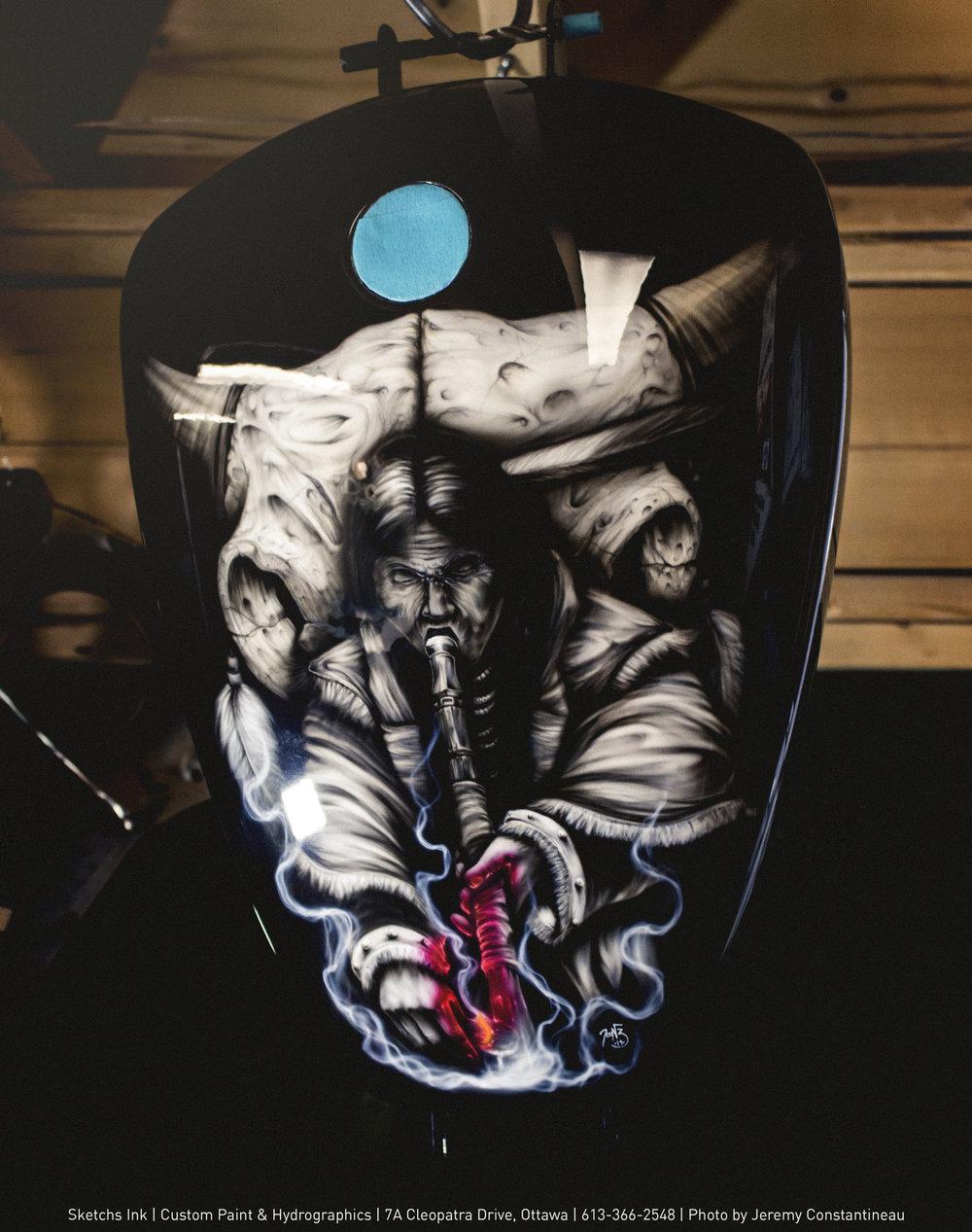 Airbrushed Harley Dyna Custom Paint Sketchs Ink Ottawa
