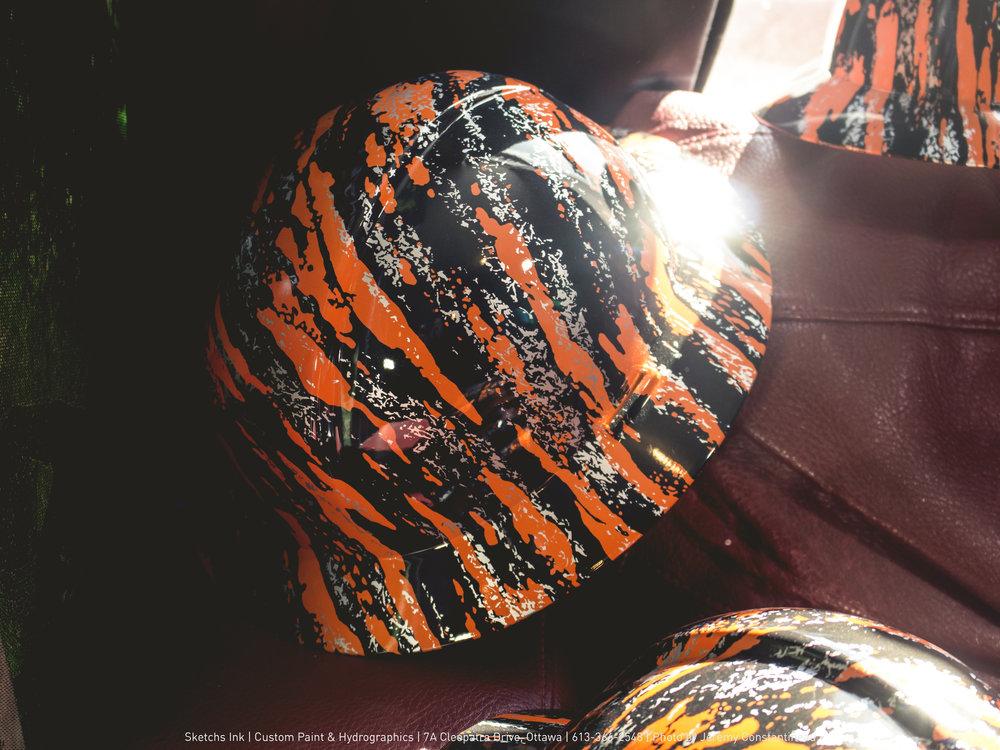 Customized Hard Hats In Orange-Marble Print