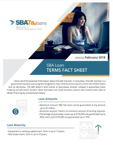 Fact Sheet for SBA 7(a) Loans