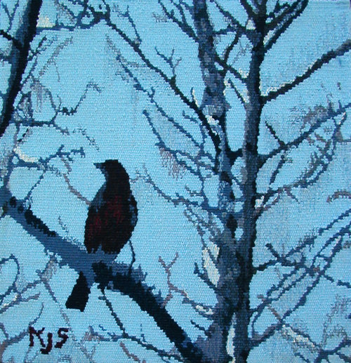 "FEBRUARY  Bare tree branches and a Robin, returning early with a hope of spring. This tapestry is woven in wool and is 18""x18"", mounted on a frame."