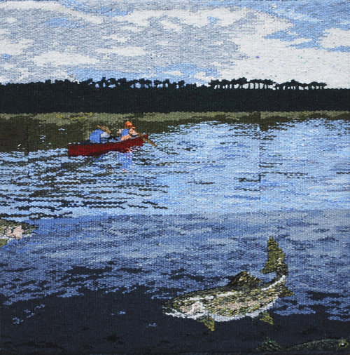 "JUNE  One of the joys my husband and I share is fishing for trout in a mountain lake in our small boat. This tapestry shares that joy with the viewer. It is woven in wool, is 18""x18"", and is mounted on a frame."