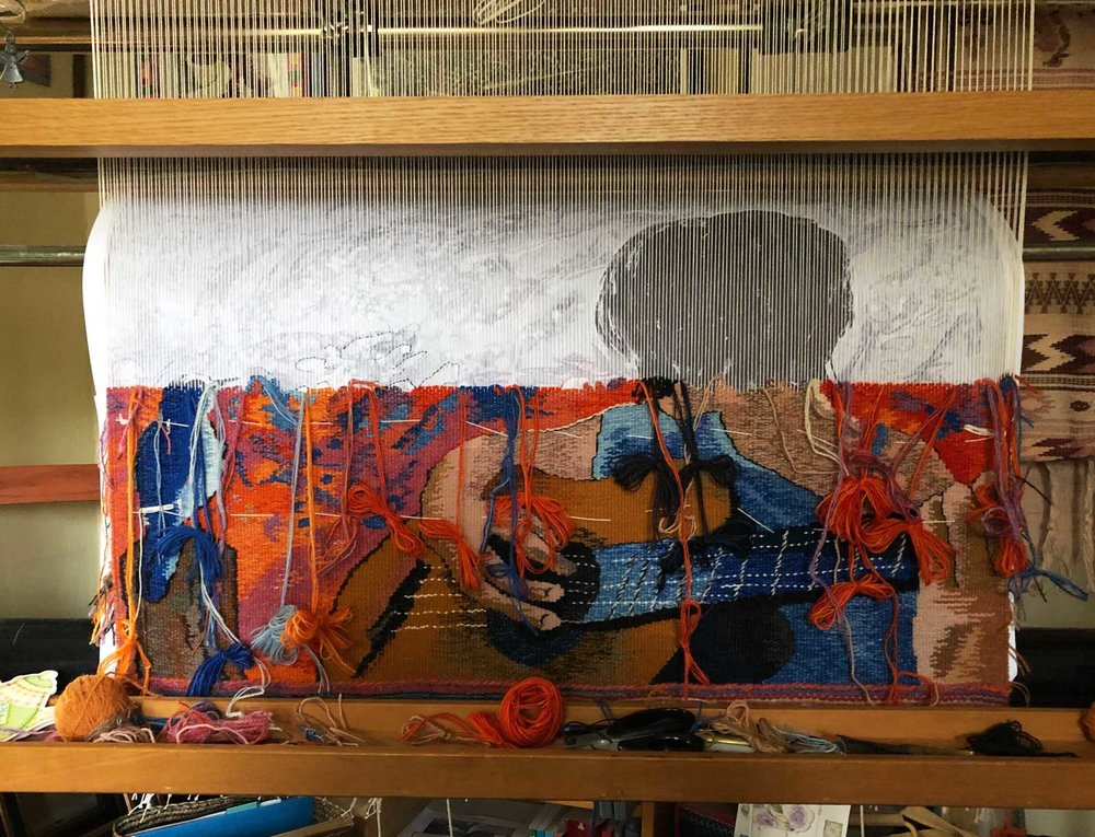 """Duet"" tapestry, in progress"