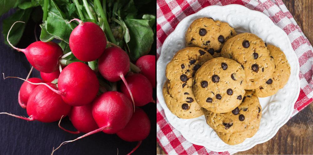 Rabanetes e cookies