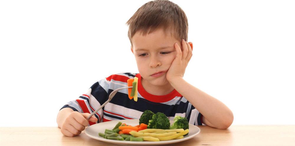 Criança não gosta de vegetais