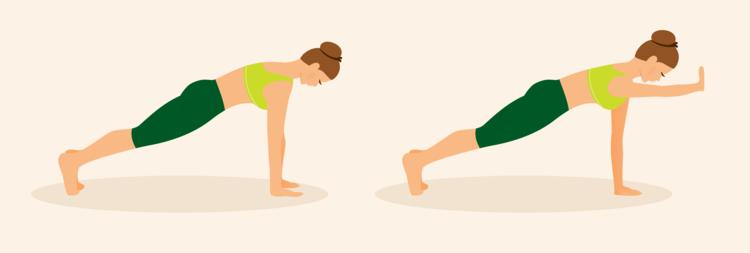 Prancha com elevação frontal de braços - Exercícios em casa