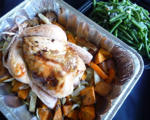 American Sunday Chicken, Roasted Root Veg, Haricots Verts