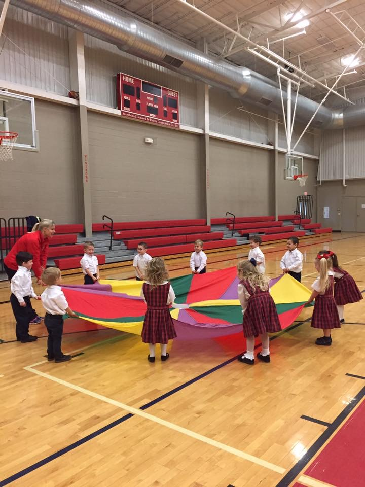 Christ Academy Wichita Falls, TX | Private Parochial School | Early Education, Elementary, Junior & Senior High_PE Parachute with Kids.jpg