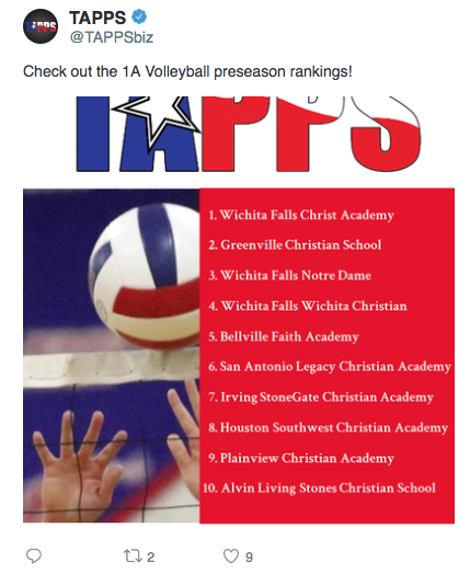 TAPPS tweeted these preseason rankings!  Don't miss a game!