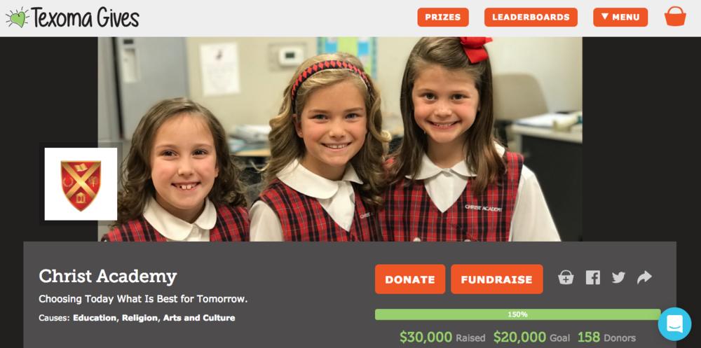 Christ Academy Texoma Gives 2018