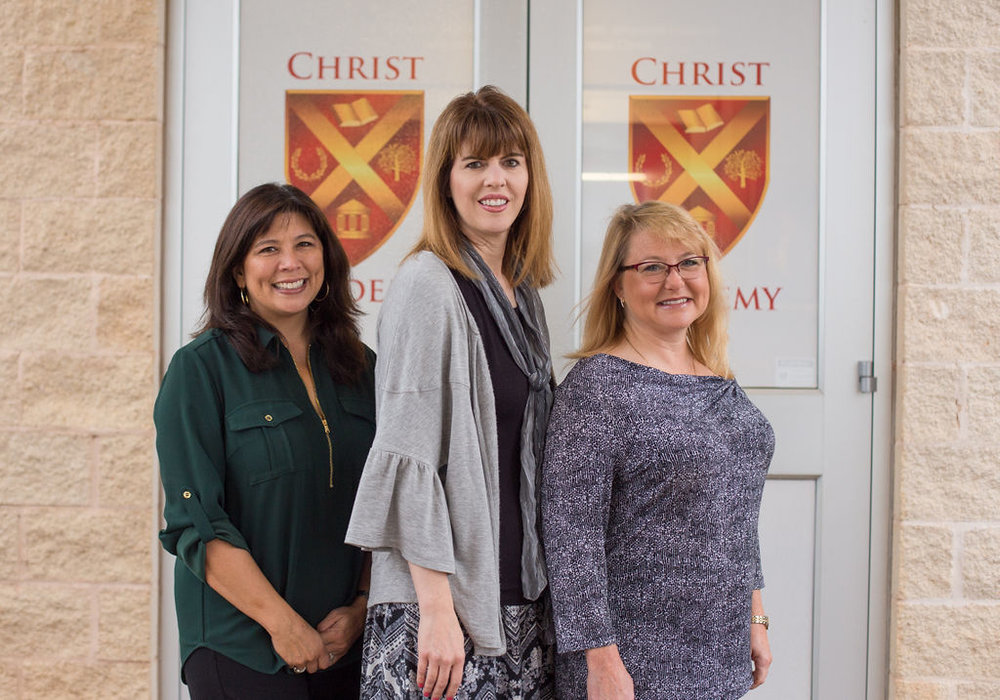 (From left to Right) Kim McClellan: Director Of Advancement, Amy Frierichs: Office Assistant, Cissy Haddox: Director Of Admissions/Office Manager, and Dena Truett (not pictured).