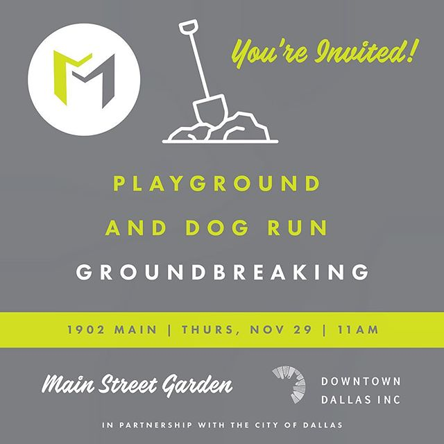 Join us this Thursday for the groundbreaking of the renovation of the playground and dog run at Main Street Garden!
