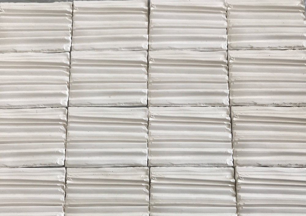 cast plaster pleated tiles for 'temple'