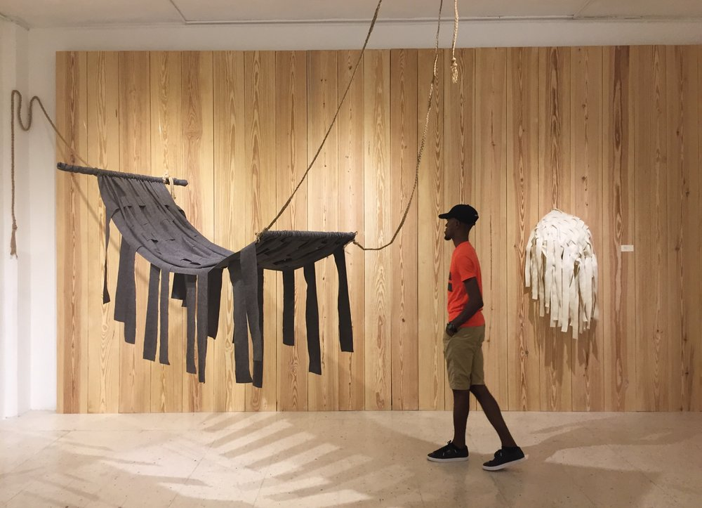 Trust Fall and Weaving for Figs on view at the National Gallery of Jamaica