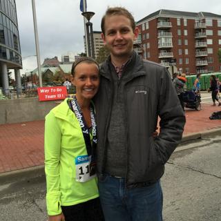 My favorite race (Evansville Half Marathon) and current half marathon PR. My boyfriend is my biggest supporter and comes to watch me run even in the rain.