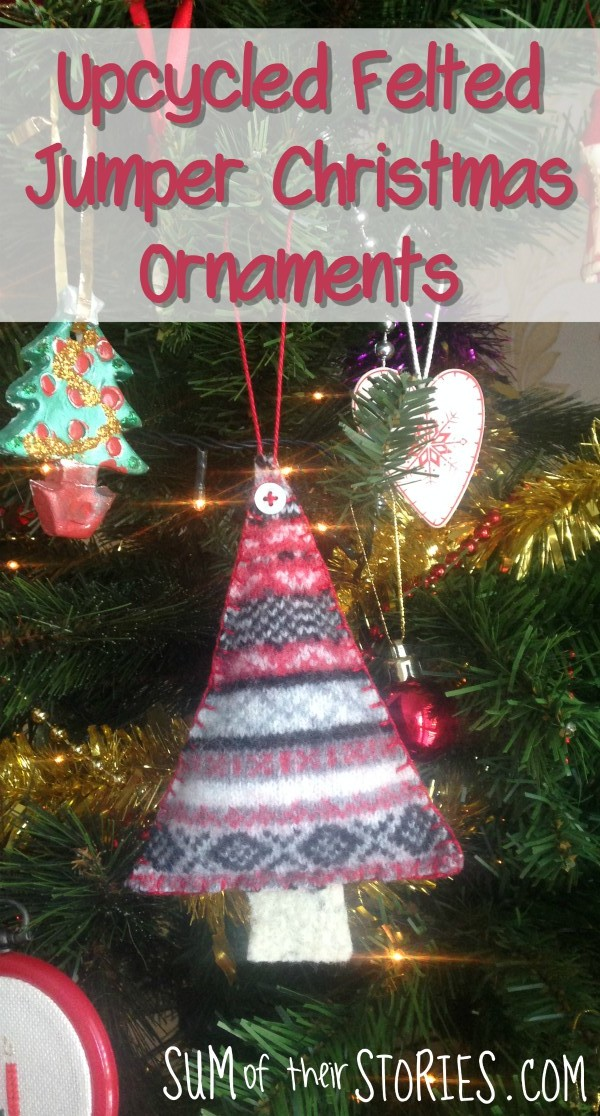 Upcycled felted jumper Christmas ornament