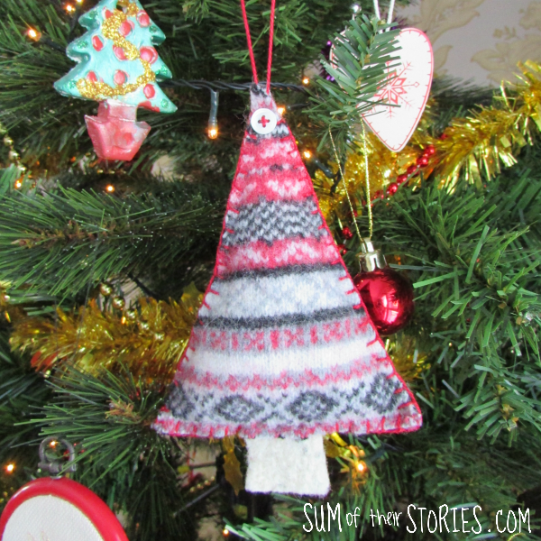 felted sweater christmas tree ornament
