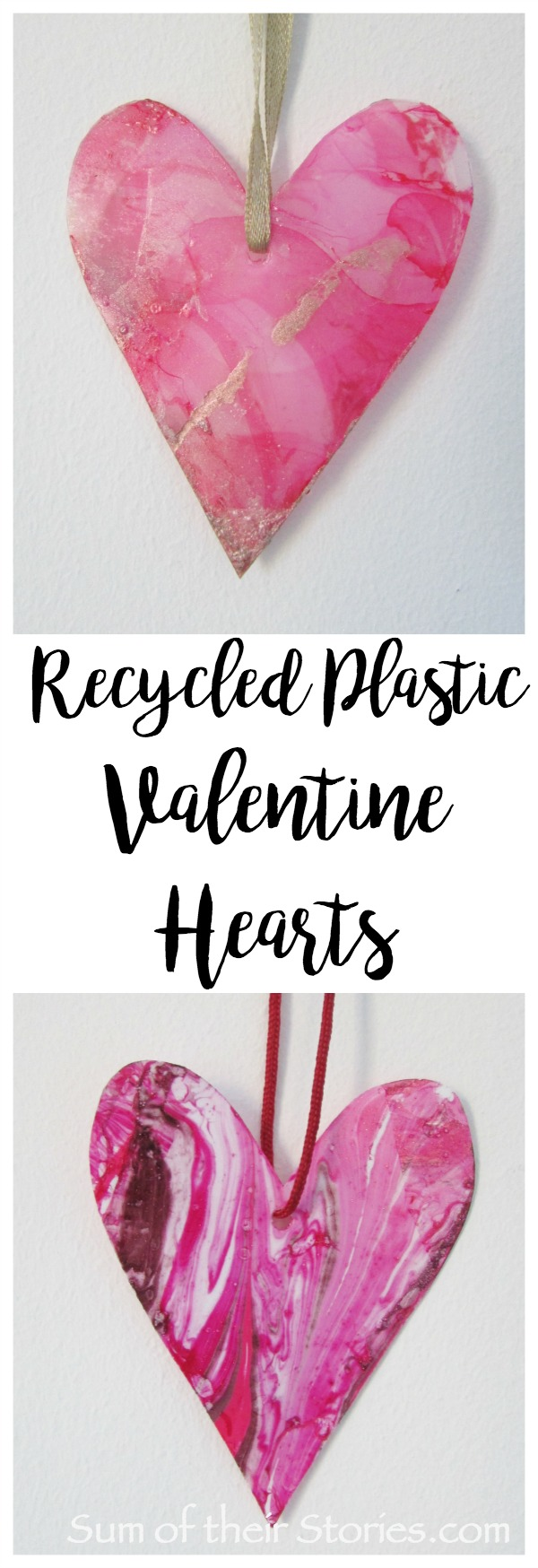 upcycled plastic valentine hearts