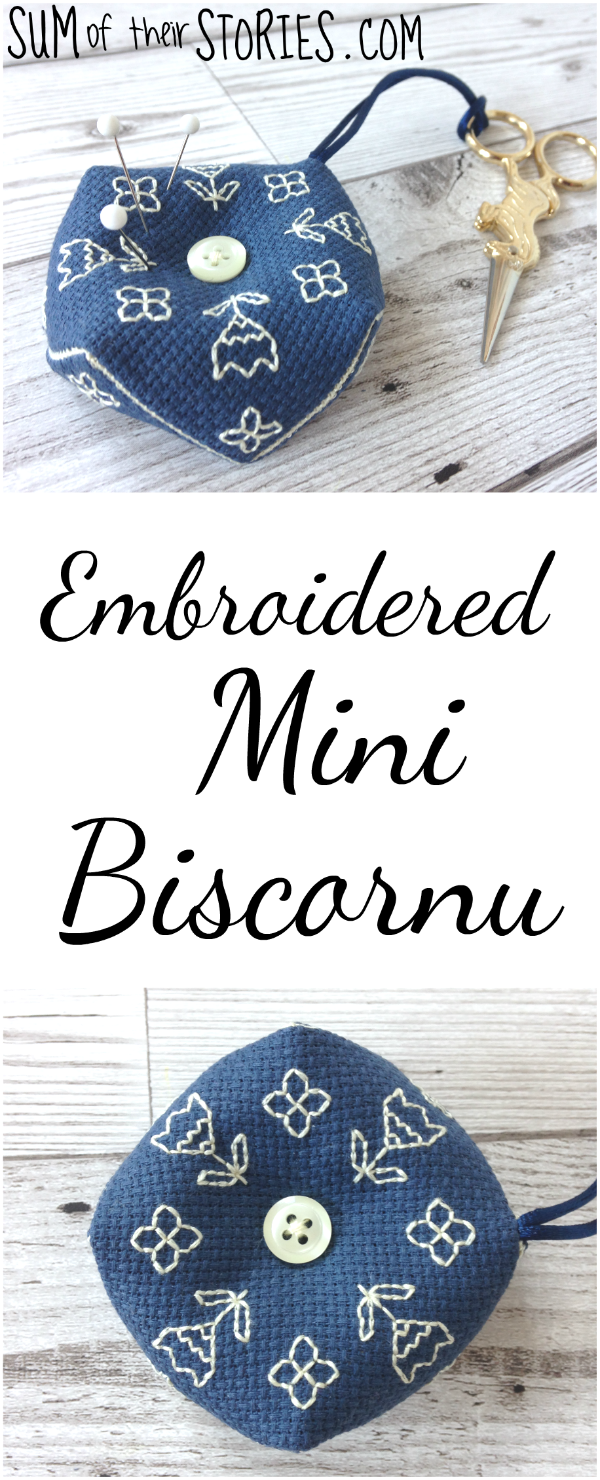 embroidered mini biscornu tutorial