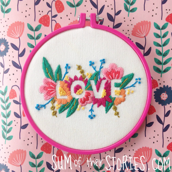 Love embroidery from Mollie Makes