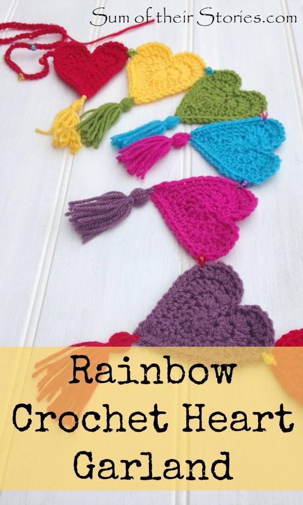 Rainbow Crochet Heart Garland And Carnival Cushion Sum Of Their