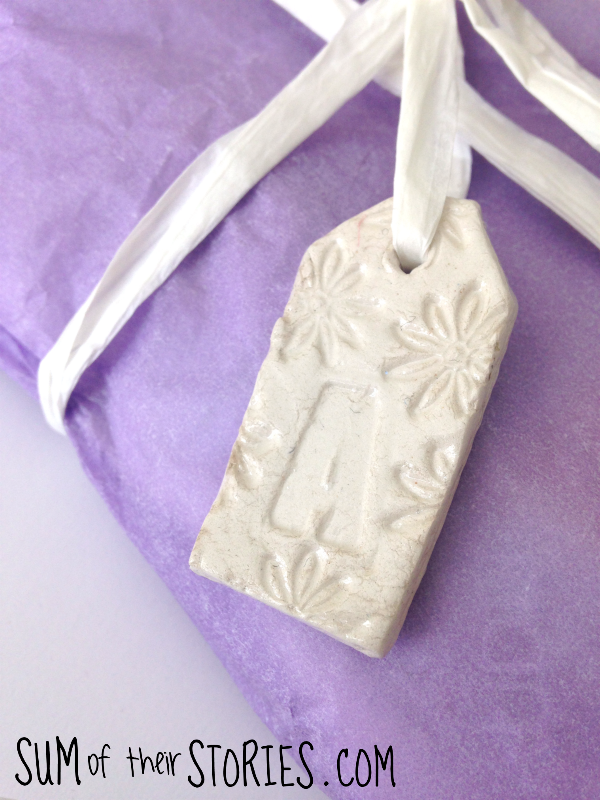 Air dry clay initial gift tag