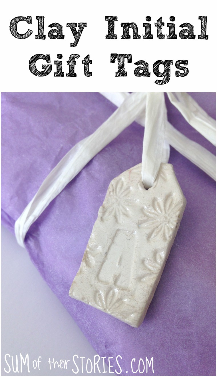 Clay initial gift tag