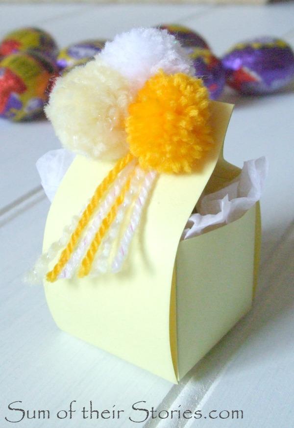 Easter egg box with pom poms