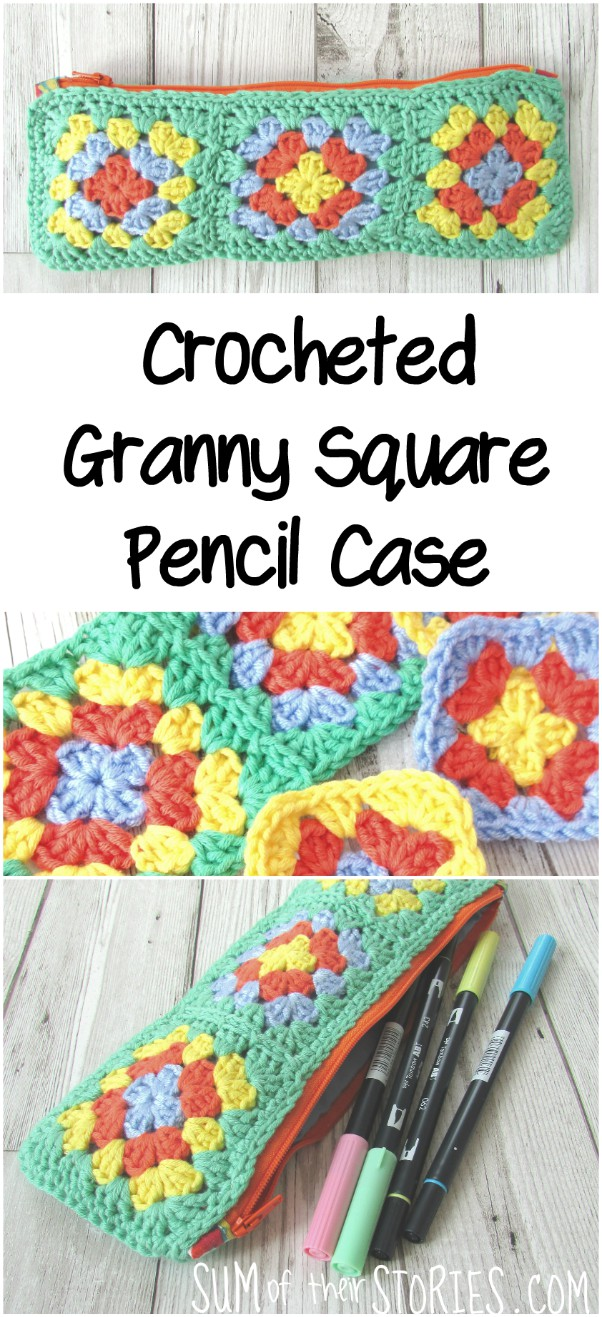 Crochet granny square pencil case