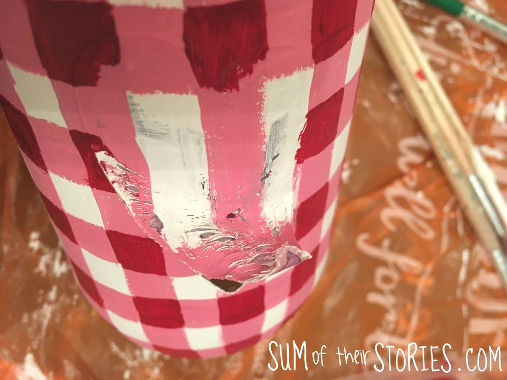 gingham effect jar upcyled
