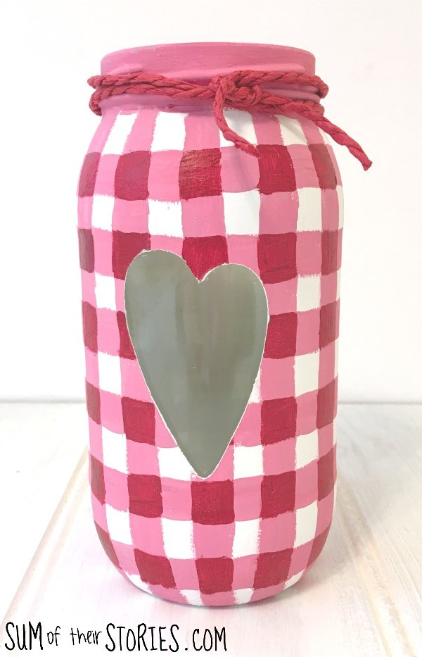 Pink gingham glass jar upcycle