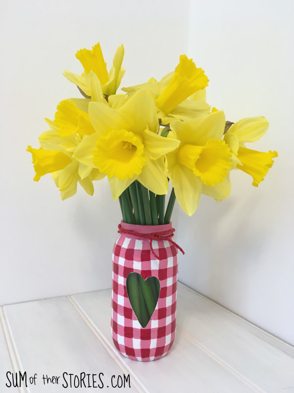 Gingham vase glass jar recycle