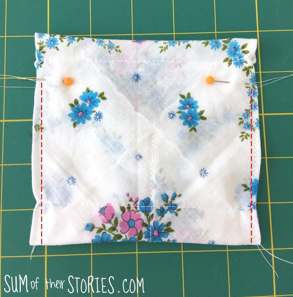 vintage handkerchief jewellery pouch